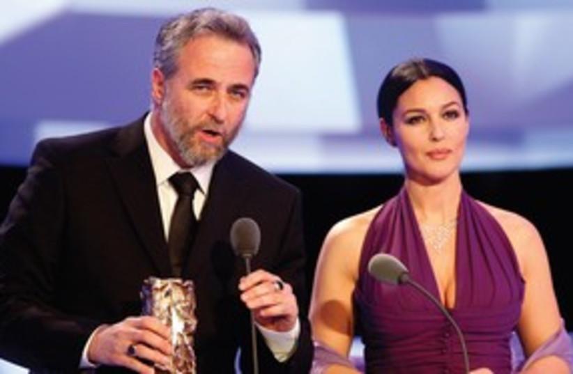 Ari Folman recieves the Cesar Award for Best Foreign Film (photo credit: Reuters/Benoit Tessier)