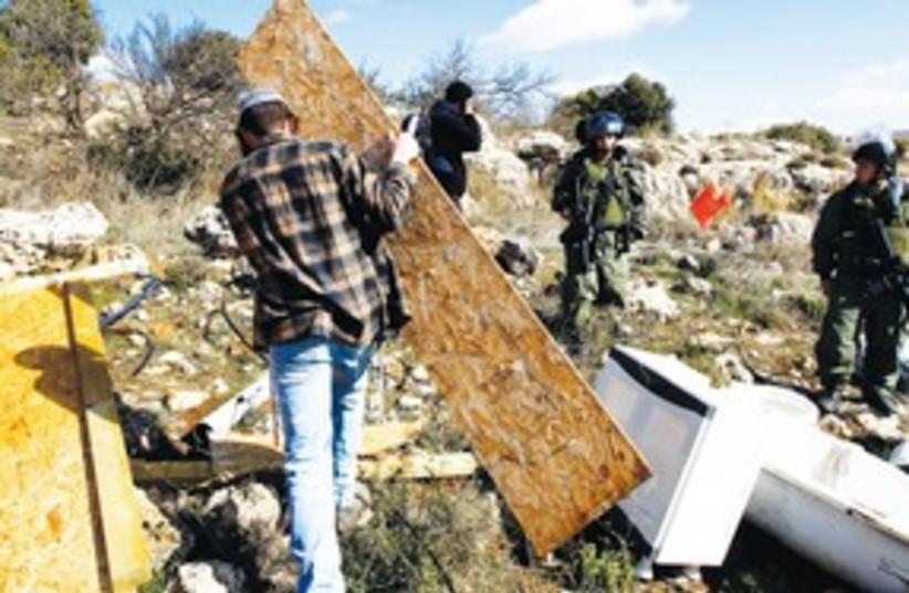 Mitzpe Avihai outpost demolition 311 (photo credit: REUTERS)