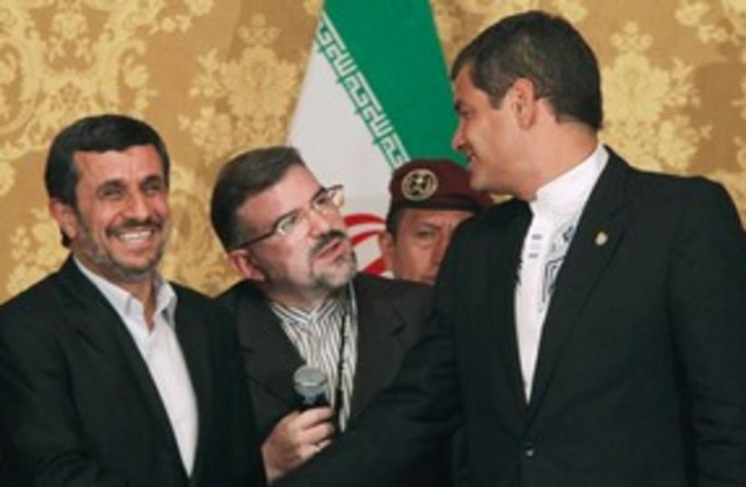 Iranian President Mahmoud Ahmadinejad 311 (R) (photo credit: REUTERS/Guillermo Granja)