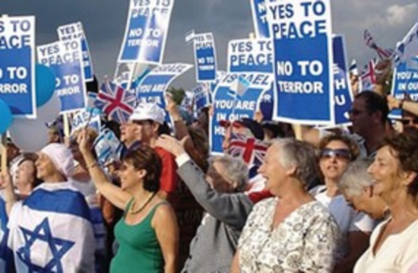 Pro-Israel protestors 311 (photo credit: Wikimedia Commons, Reuters)