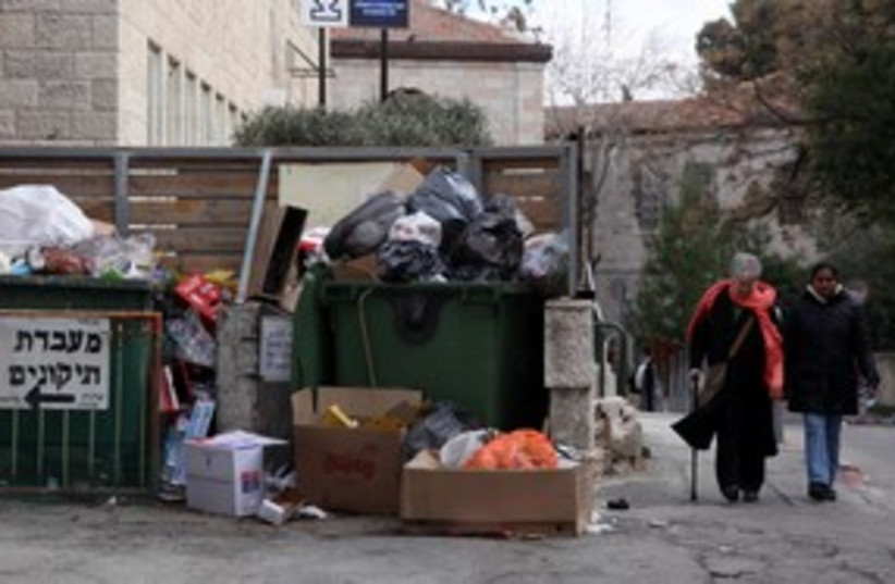 Trash piles up during Local Authorities strike 311 (photo credit: Marc Israel Sellem)