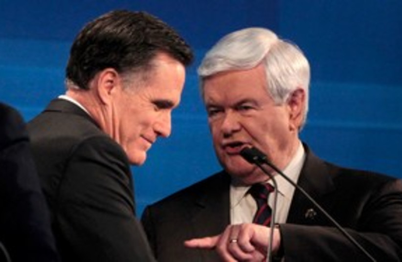 Gingrich and Romney debate 311 (photo credit: REUTERS)