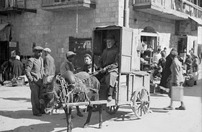 "Meah She'arim market. ""Bukharan vegetable vendor w"