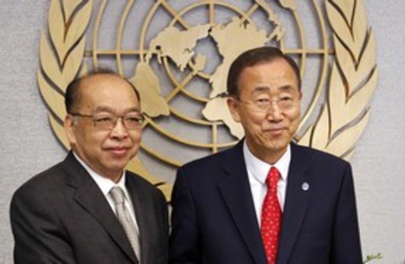Thai Foreign Minister Tovichakchaikul, Ban-ki Moon 311  (photo credit: REUTERS/Jessica Rinaldi)