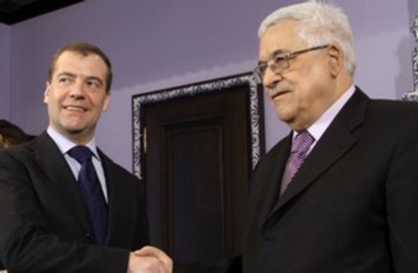 Abbas and Medvedev 311 (photo credit: REUTERS)