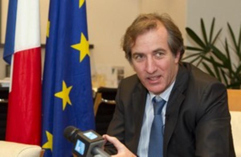 French Ambassador to Israel Christophe Bigot 311 (R) (photo credit: Pool / Reuters)