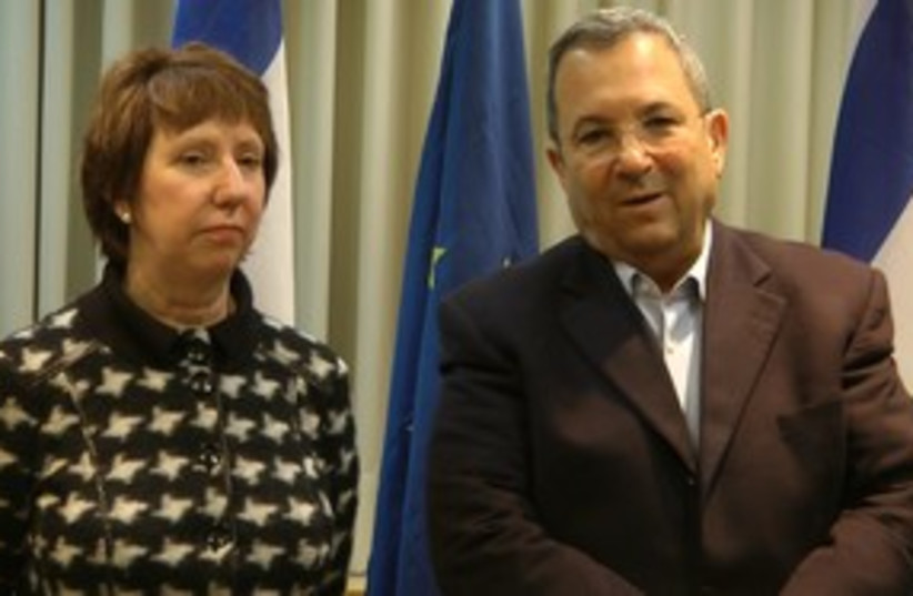 Ehud Barak and EU foreign affairs chief Catherine Ashton_311 (photo credit: Ben Spier )