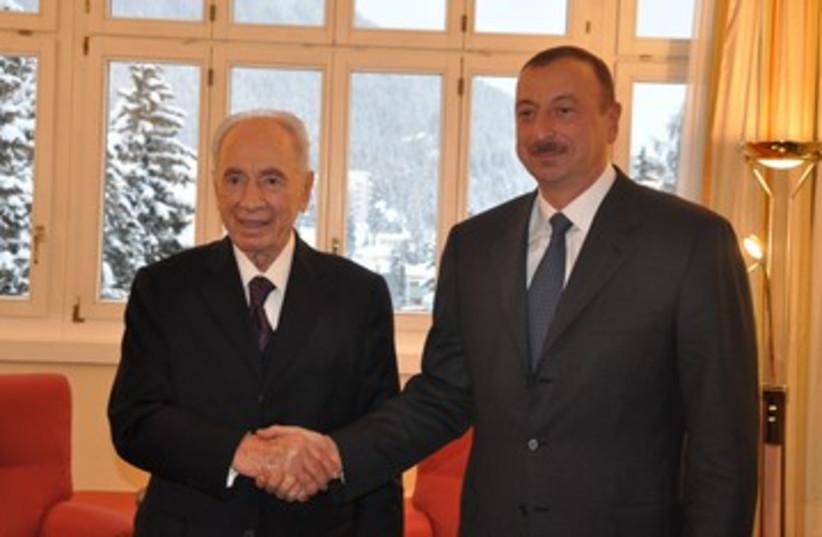 Peres, Azerbaijani president Aliyev_390 (photo credit: President's Office)