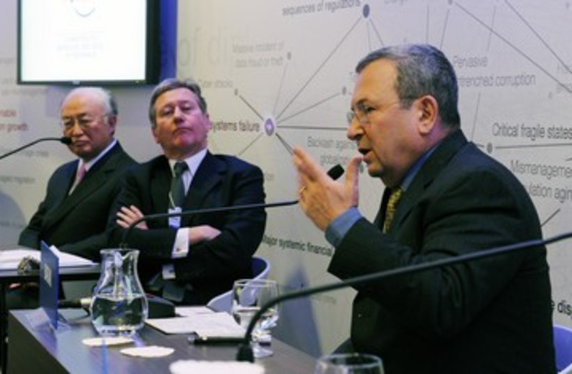Barak at Davos 311 (photo credit: Ariel Harmony / Defense Ministry)
