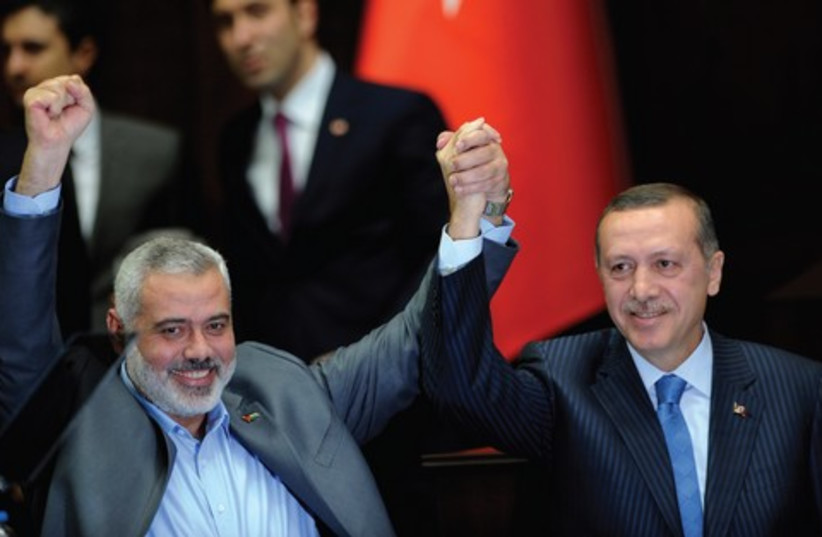Hamas leader Ismail Haniyeh recieves royal welcome in Turkey (photo credit: Courtesy )