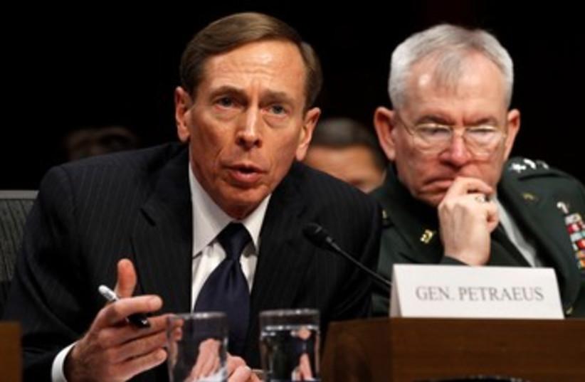 CIA Director David Petraeus in the US Senate 390 (photo credit: REUTERS/Kevin Lamarque)