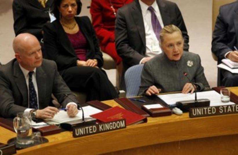 Clinton addresses UN Security Council_390 (photo credit: Mike Segar/Reuters)