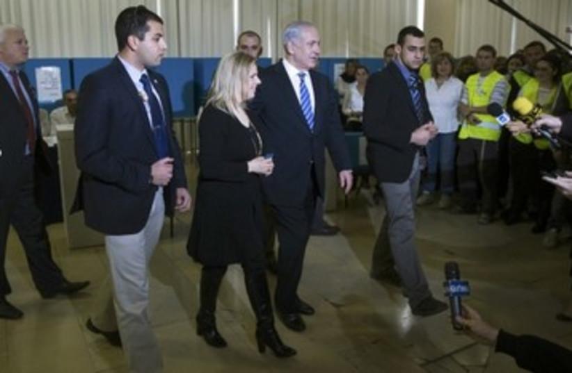 Netanyahu at the polls_390 (photo credit: Reuters)