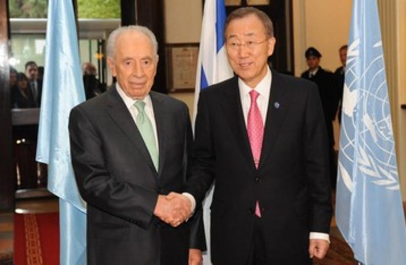 UN Ban ki-moon and Shimon Peres 390  (photo credit: Mark Neyman / GPO)