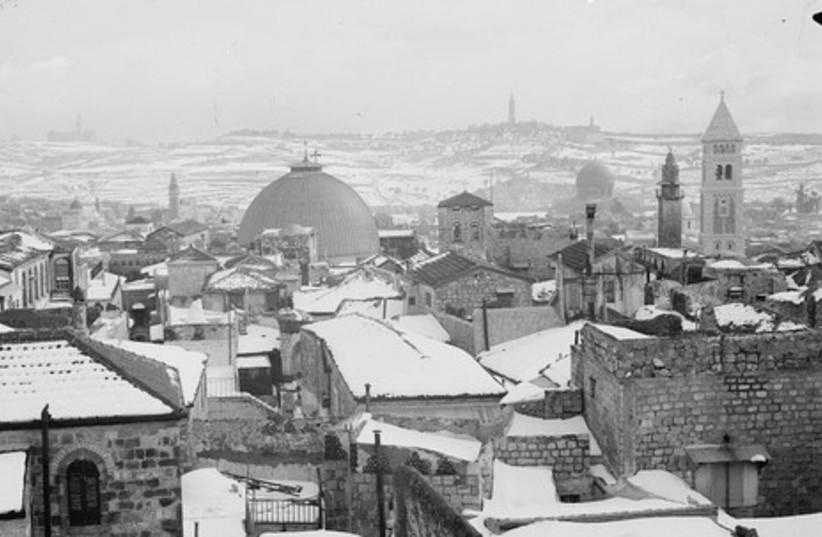Snow covers Jerusalem's Old City