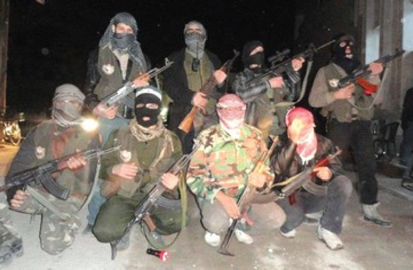 purported members of Free Syria Army_390 (photo credit: Reuters)