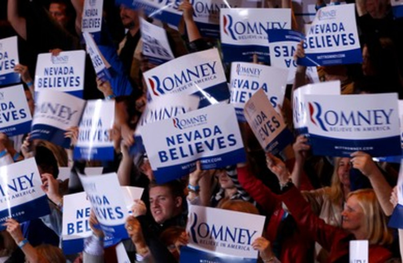 Supporters of Mitt Romney in Nevada 390 (R) (photo credit: REUTERS/Brian Snyder)
