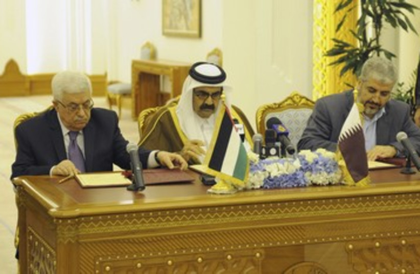 Abbas, Qatar's al-Thani, and Mashaal_390 (photo credit: Reuters)