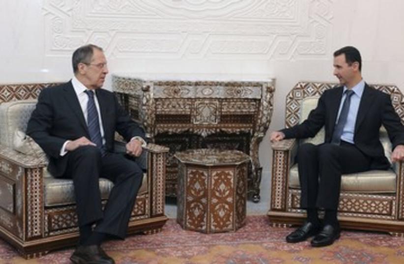 Syrian Pres. Assad, Russian FM Lavrov, Damascus_390 (photo credit: Reuters)