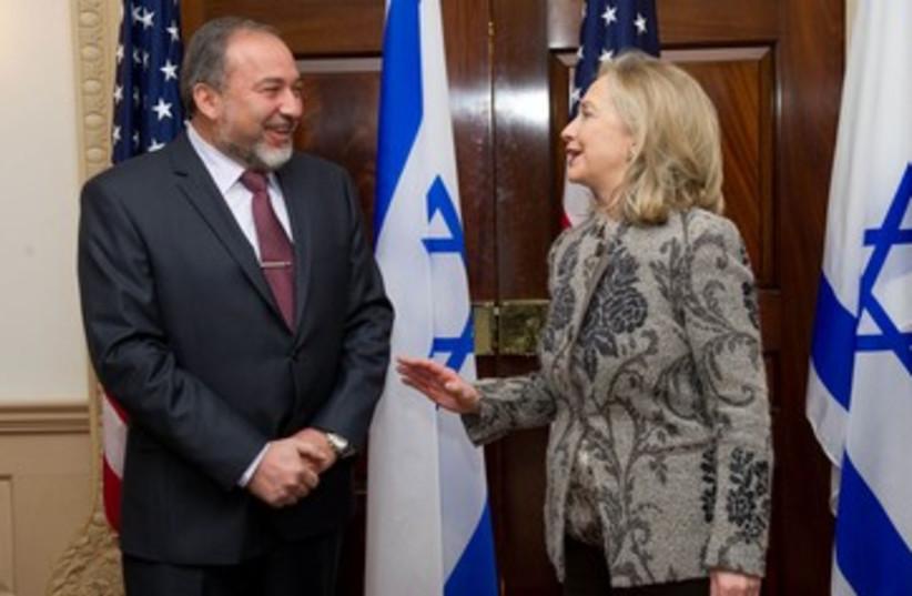 Lieberman and Clinton (photo credit: Shahar Azran)