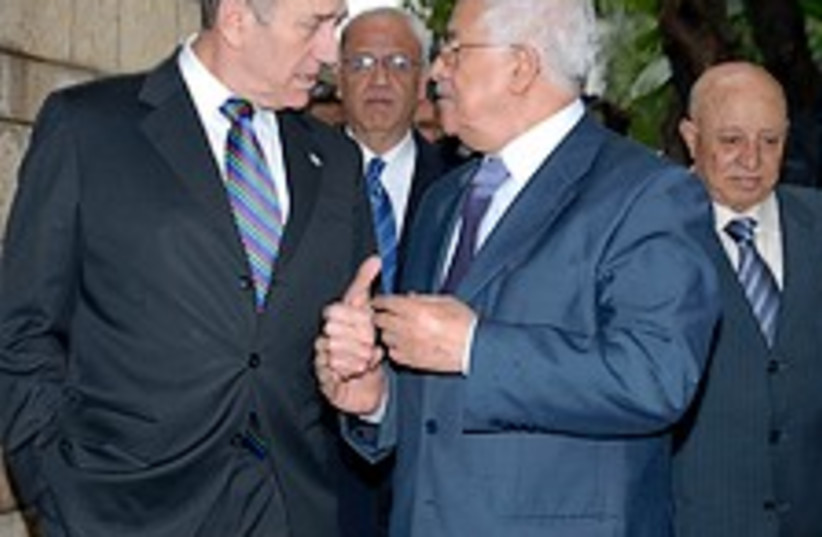 Olmert Abbas discuss 224 (photo credit: GPO)