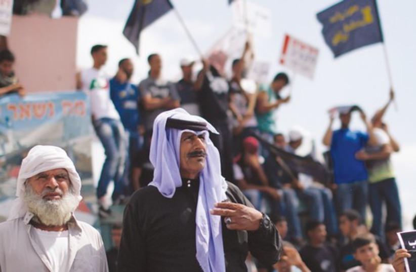 Beduin take part in protest in Beersheba 521 (photo credit: Reuters)