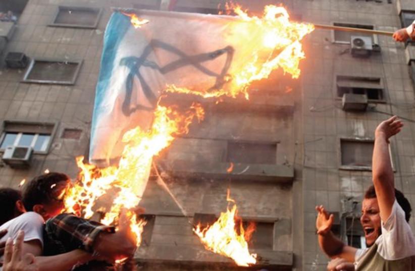 Protesters burn Israel flag at embassy, Cairo_521 (photo credit: Reuters)