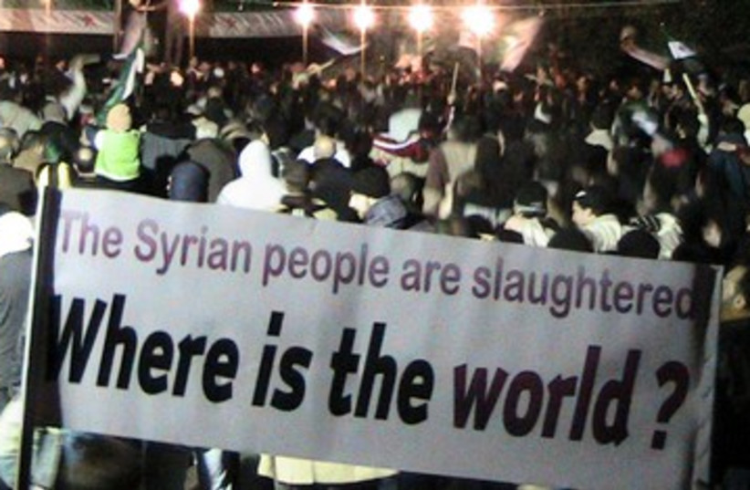Anti-Assad protest where is the world 390 (photo credit: REUTERS)