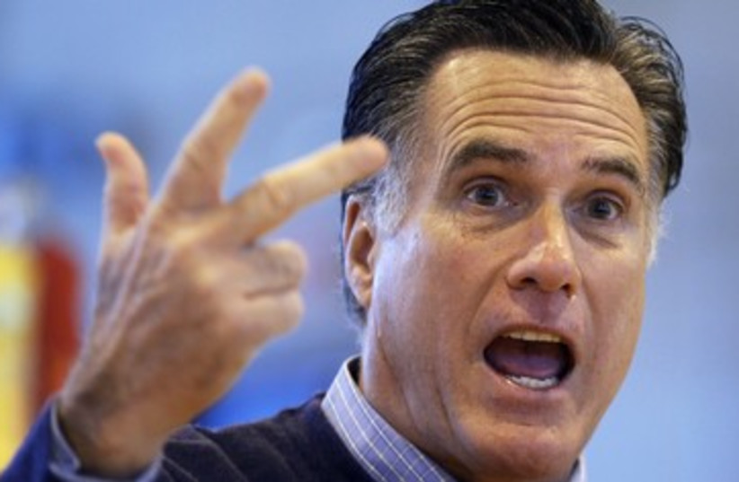 Republican presdential hopeful Mitt Romney in Maine 390 (photo credit: REUTERS)