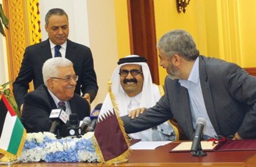 Abbas, Mashaal, Qatar's Emir Sheikh Hamad 390 (photo credit: REUTERS)