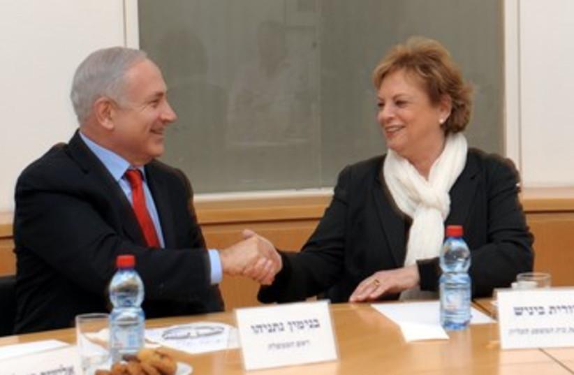 PM Netanyahu and High Court president Beinisch_390 (photo credit: Moshe Milner/GPO)