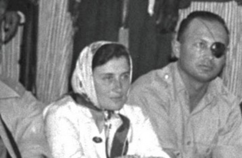 Ruth and Moshe Dayan at tribal meeting_390 (photo credit: FRITZ COHEN / GPO)