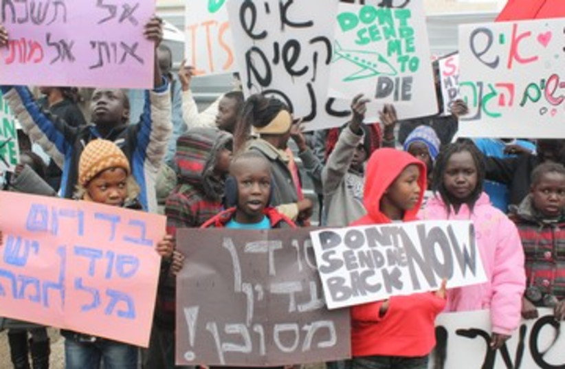 South Sudanese kids protest outside UNHCR office 390 (photo credit: Ben Hartman)