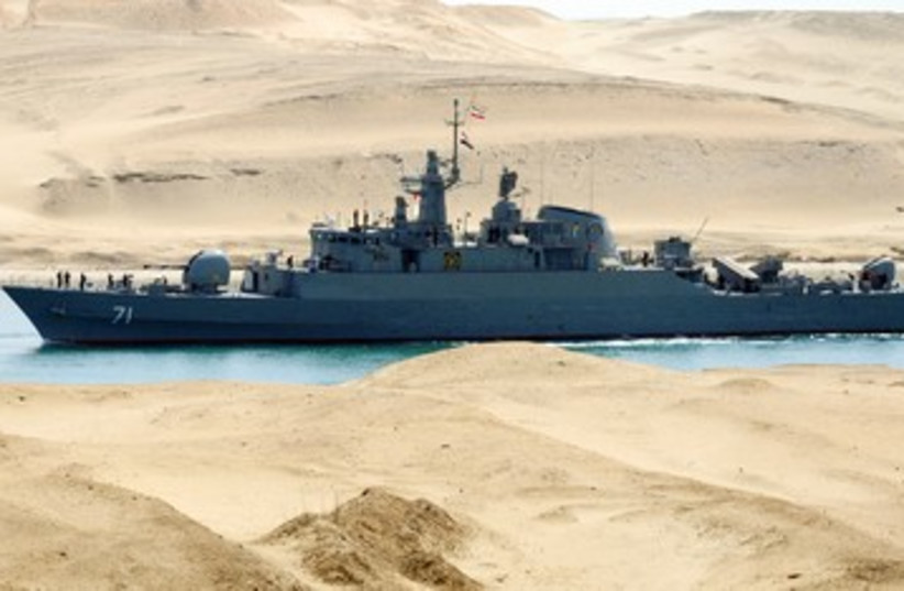 Iranian naval ship travels through the Suez Canal 390 (R) (photo credit: REUTERS)