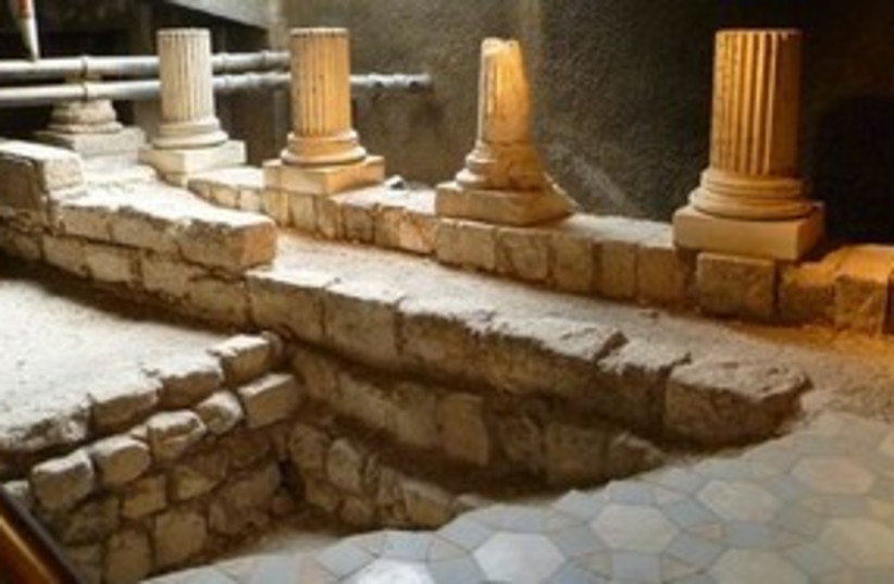 Ancient Jerusalem mosaic floor found in the reception hall (photo credit: Courtesy)