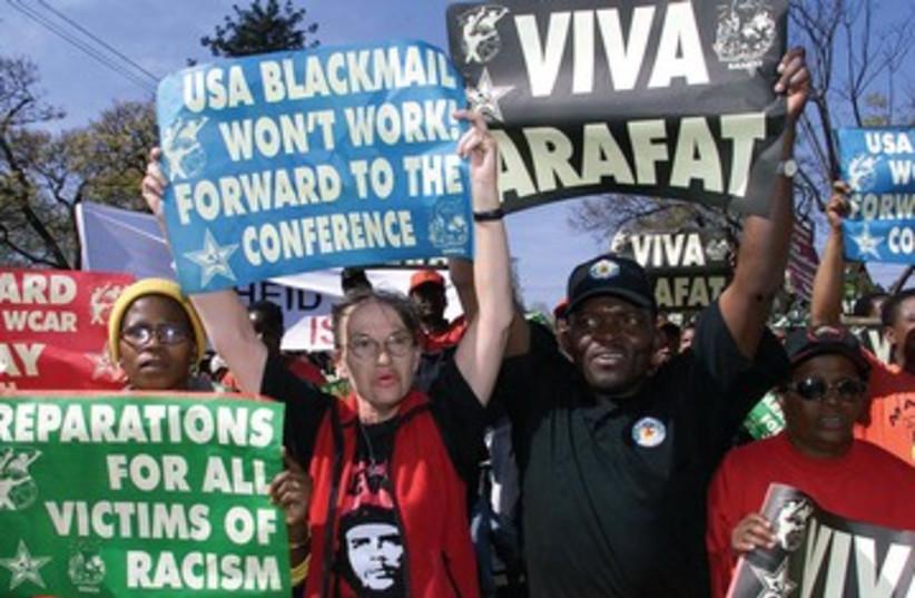 Protestors at Durban conference, 2011_390 (photo credit: Reuters)