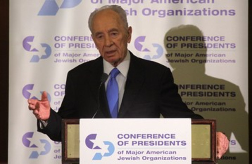 President Shimon Peres Conference of Presidents 390 (photo credit: Marc Israel Sellem)