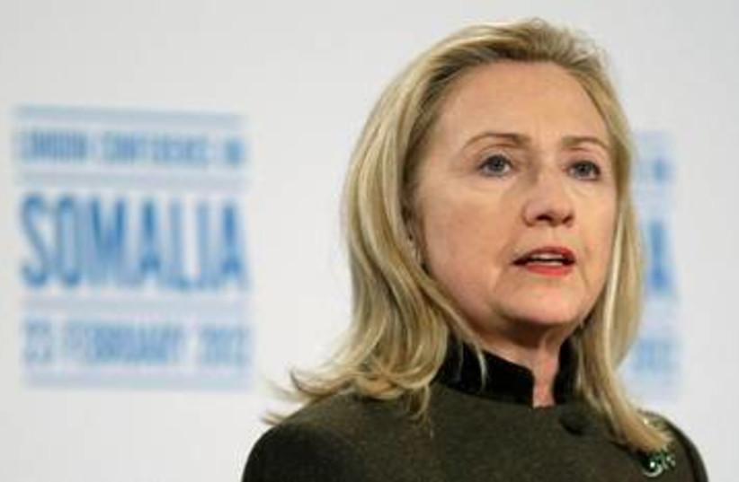 US Secretary of State Hillary Clinton 390 (R) (photo credit: REUTERS/Jason Reed)