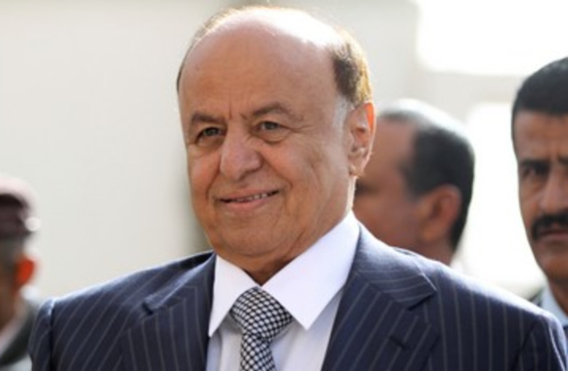 Yemen president Abd-Rabbu Mansour Hadi  390 (photo credit: Mohamed Al-Sayaghi / Reuters)