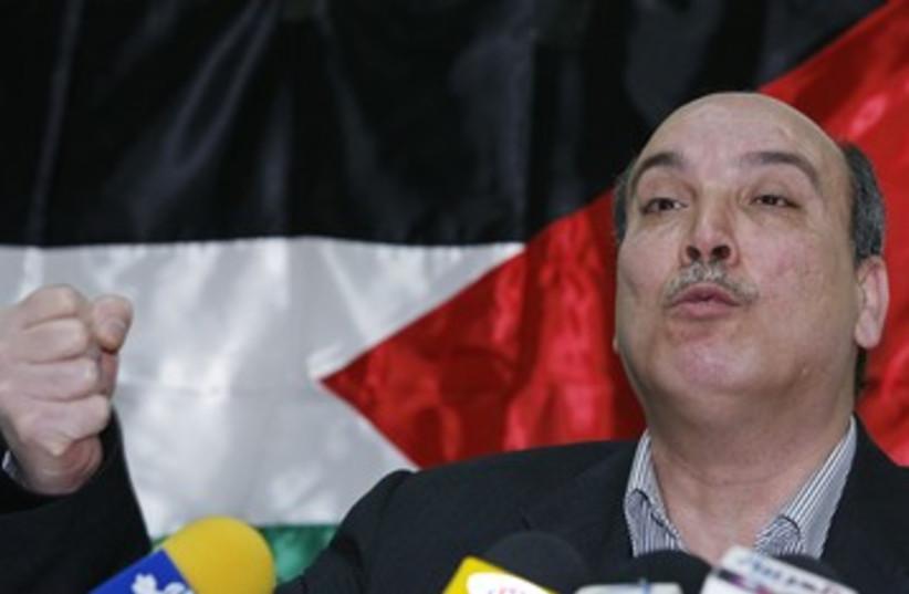 PFLP leader Maher Taher 390 (R) (photo credit: Khaled Al Hariri / Reuters)