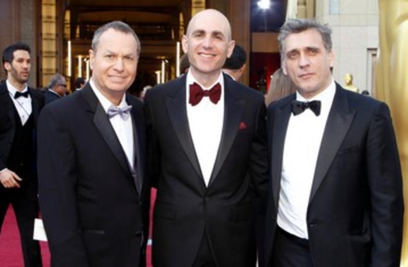 Joseph Cedar, Shiomo Bar-Aba and Lior Ashkenazi at Oscar 390 (photo credit: REUTERS)