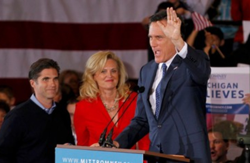 Mitt Romney waves 390 (photo credit: REUTERS/Mark Blinch)