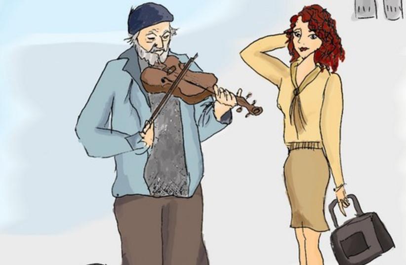 A busker plays the violin on the street 521 (photo credit: Deborah S. Danan)