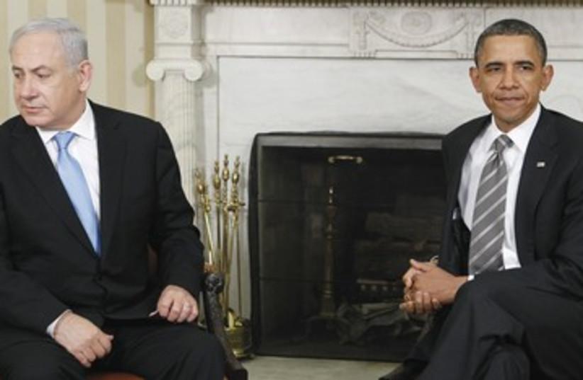 Netanyahuo Obama chilly awkward 390 (photo credit: Jim Young/ Reuters)
