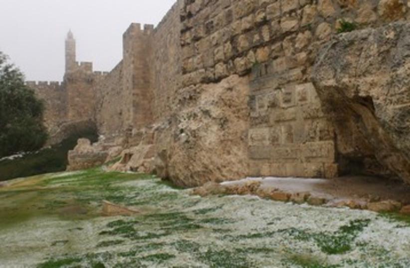Snow near Old City, Jerusalem_390 (photo credit: Marc Israel Sellem/The Jerusalem Post)