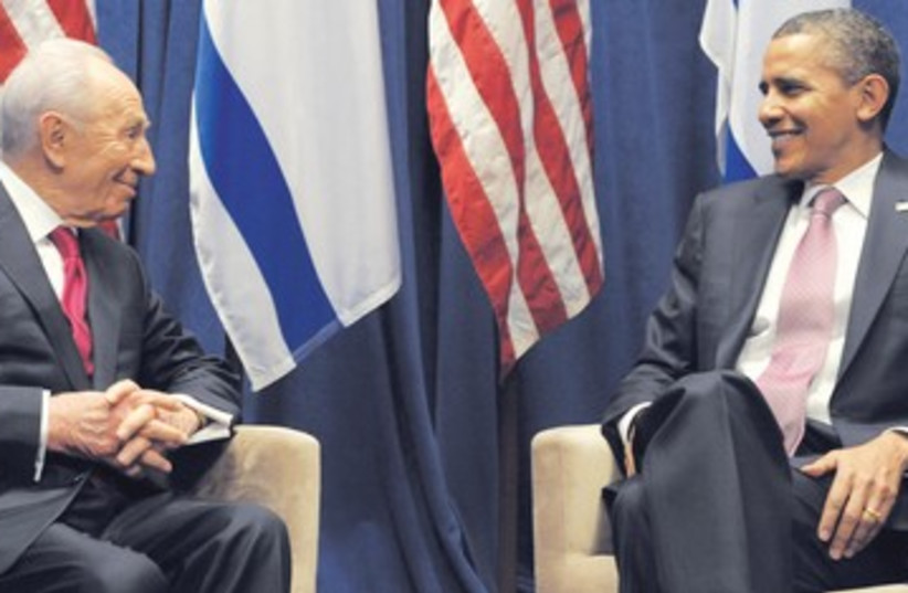 Peres meets with Obama after both addressed AIPAC 390 (photo credit: Moshe Milner GPO)
