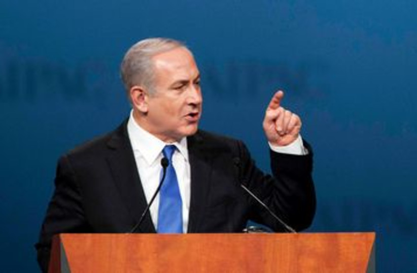 Prime Minister Binyamin Netanyahu speaks to AIPAC 390 (R) (photo credit: REUTERS/Joshua Roberts)