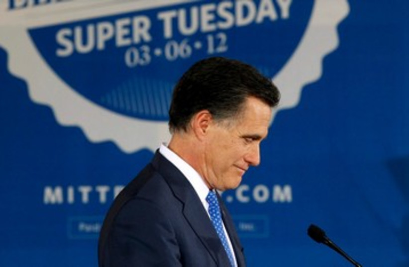 Mitt Romney Super Tuesday glum 390 (photo credit: REUTERS/Brian Snyder )