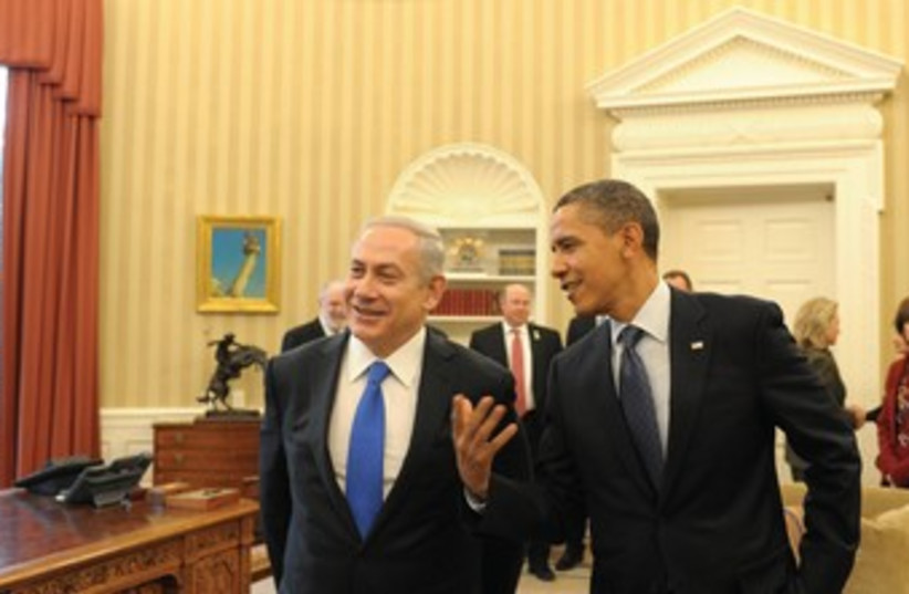 Netanyahu and Obama in Washington  (photo credit: Amos Ben-Gershom/GPO)