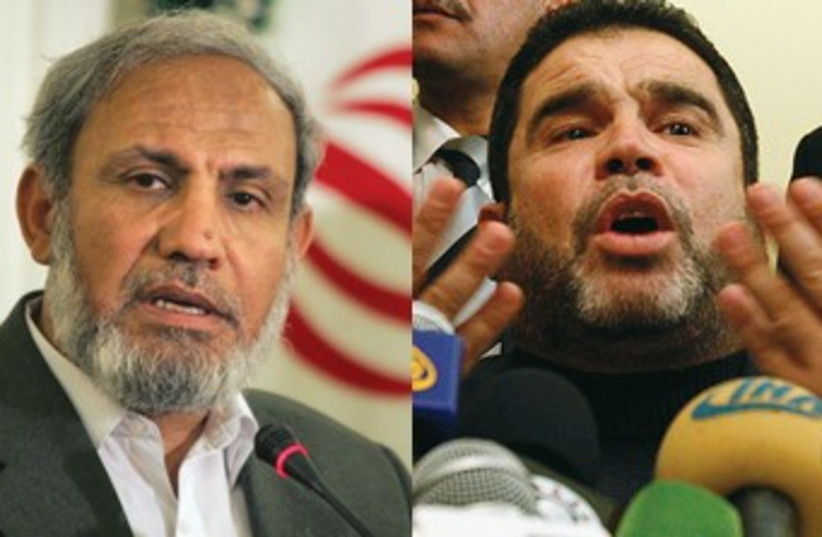 Hamas's Zahar (L), Bardawil (R)_370 (photo credit: Reuters)